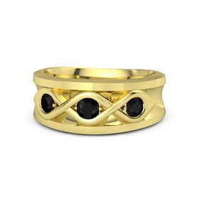 Round Black Onyx 14K Yellow Gold Ring with Black Onyx