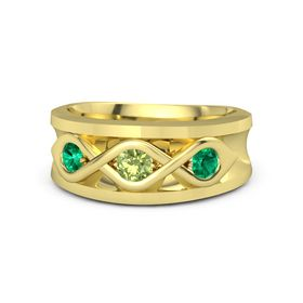 Men's Round Peridot 14K Yellow Gold Ring with Emerald