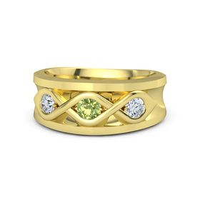 Round Peridot 14K Yellow Gold Ring with Moissanite