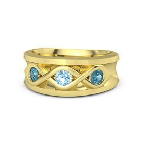 Round Blue Topaz 14K Yellow Gold Ring with London Blue Topaz
