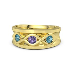 Round Iolite 14K Yellow Gold Ring with London Blue Topaz