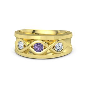 Men's Round Iolite 14K Yellow Gold Ring with Diamond