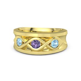 Round Iolite 14K Yellow Gold Ring with Blue Topaz