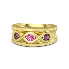 Men's Round Pink Tourmaline 14K Yellow Gold Ring with Rhodolite Garnet