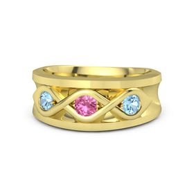 Men's Round Pink Tourmaline 14K Yellow Gold Ring with Blue Topaz