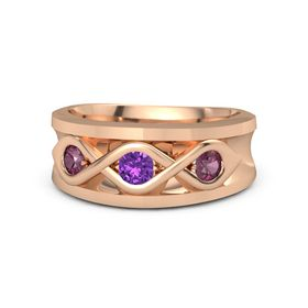 Men's Round Amethyst 18K Rose Gold Ring with Rhodolite Garnet