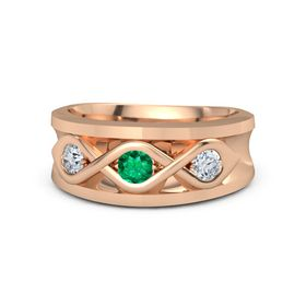 Men's Round Emerald 18K Rose Gold Ring with Diamond