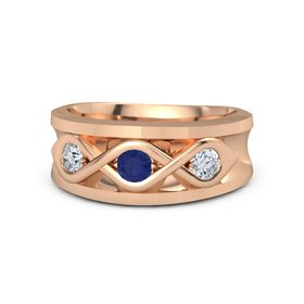Men's Round Sapphire 18K Rose Gold Ring with Diamond