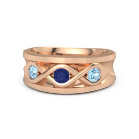 Men's Round Sapphire 18K Rose Gold Ring with Blue Topaz