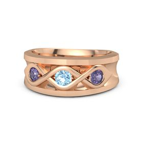 Men's Round Blue Topaz 18K Rose Gold Ring with Iolite