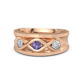 Round Iolite 18K Rose Gold Ring with Diamond