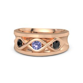 Round Tanzanite 18K Rose Gold Ring with Black Diamond