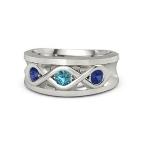 Round London Blue Topaz 18K White Gold Ring with Blue Sapphire