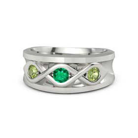 Men's Round Emerald 18K White Gold Ring with Peridot