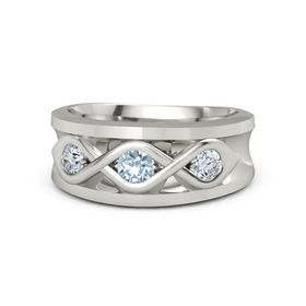 Men's Round Aquamarine 18K White Gold Ring with Diamond