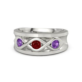 Round Ruby 18K White Gold Ring with Amethyst
