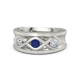 Men's Round Sapphire 18K White Gold Ring with Diamond