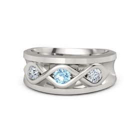 Men's Round Blue Topaz 18K White Gold Ring with Diamond