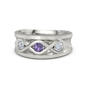 Round Iolite 18K White Gold Ring with Diamond