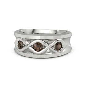 Men's Round Smoky Quartz 18K White Gold Ring with Smoky Quartz