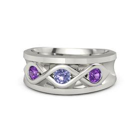 Round Tanzanite 18K White Gold Ring with Amethyst