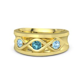 Round London Blue Topaz 18K Yellow Gold Ring with Blue Topaz