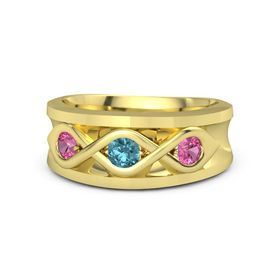 Men's Round London Blue Topaz 18K Yellow Gold Ring with Pink Tourmaline