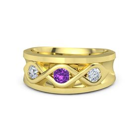 Men's Round Amethyst 18K Yellow Gold Ring with Diamond