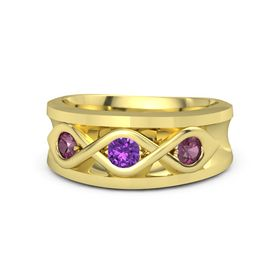 Men's Round Amethyst 18K Yellow Gold Ring with Rhodolite Garnet