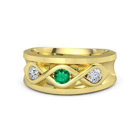 Men's Round Emerald 18K Yellow Gold Ring with Diamond
