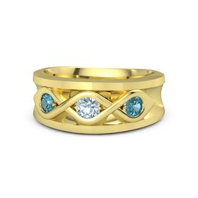 Round Aquamarine 18K Yellow Gold Ring with London Blue Topaz