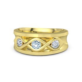 Men's Round Aquamarine 18K Yellow Gold Ring with Diamond