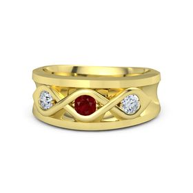 Men's Round Ruby 18K Yellow Gold Ring with Diamond