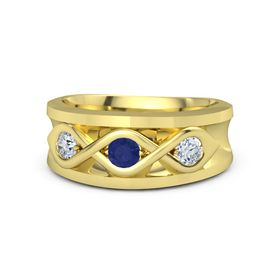 Men's Round Sapphire 18K Yellow Gold Ring with Diamond