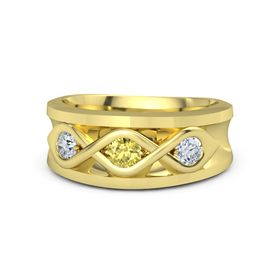 Men's Round Yellow Sapphire 18K Yellow Gold Ring with Diamond