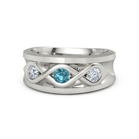 Men's Round London Blue Topaz Palladium Ring with Diamond