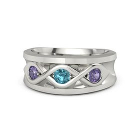 Round London Blue Topaz Palladium Ring with Iolite