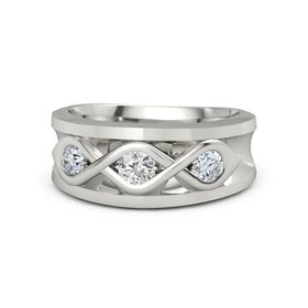 Men's Round White Sapphire Palladium Ring with Diamond