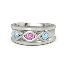 Men's Round Pink Sapphire Palladium Ring with Blue Topaz