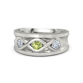 Men's Round Peridot Palladium Ring with Diamond
