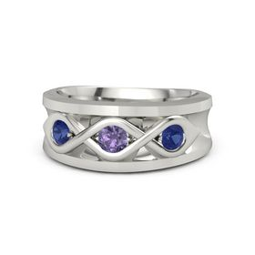 Round Iolite Palladium Ring with Blue Sapphire