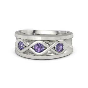 Men's Round Iolite Palladium Ring with Iolite