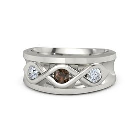 Men's Round Smoky Quartz Palladium Ring with Diamond