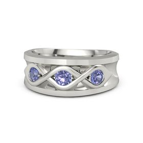 Men's Round Tanzanite Palladium Ring with Tanzanite