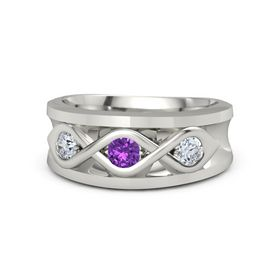 Men's Round Amethyst Platinum Ring with Diamond