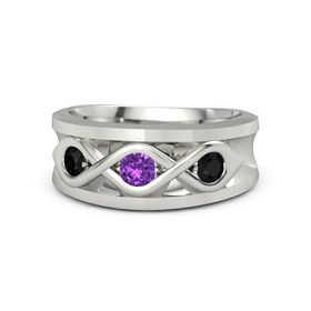 Round Amethyst Platinum Ring with Black Onyx