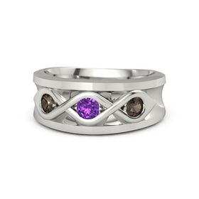 Round Amethyst Platinum Ring with Smoky Quartz