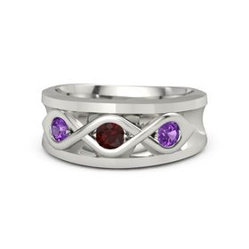 Men's Round Red Garnet Platinum Ring with Amethyst
