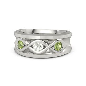 Men's Round Green Amethyst Platinum Ring with Peridot