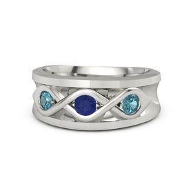 Round Blue Sapphire Platinum Ring with London Blue Topaz